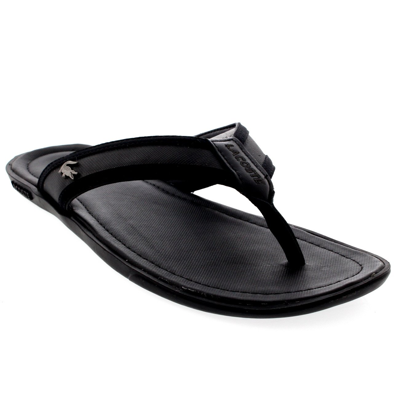 7f37a471fd6b0 Lacoste Mens Carros 6 Beach Leather Holiday Slip On Flip Flops Sandals -  Dark Blue - 12  Amazon.co.uk  Shoes   Bags