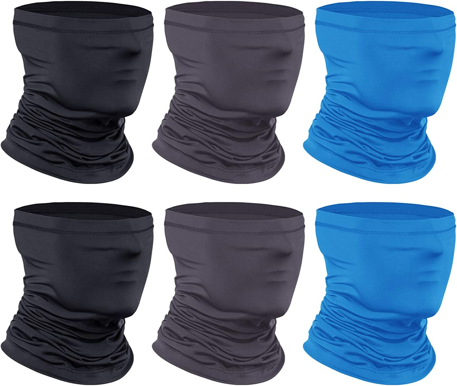 [6-Pack] Neck Gaiter Scarf, Breathable Bandana Face Mask Cooling Neck Gaiter for Men Women Cycling Hiking Fishing.