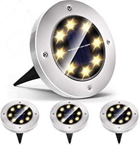 Azuunye Solar Ground Lights Outdoor, Solar Disk Lights 8 LED Waterproof Solar Lights Outdoor for Patio Pathway Garden Lawn Yard Driveway Deck Walkway (4 Pack Warm White)