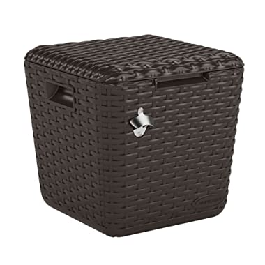 Suncast Cube Cooler - Lightweight, Resin Outdoor Patio Cooler with 60 qt. Capacity - Wicker Backyard Decor for Storing Beverages, Bottles and Cans - Bottle Opener and Drainage Tube - Brown