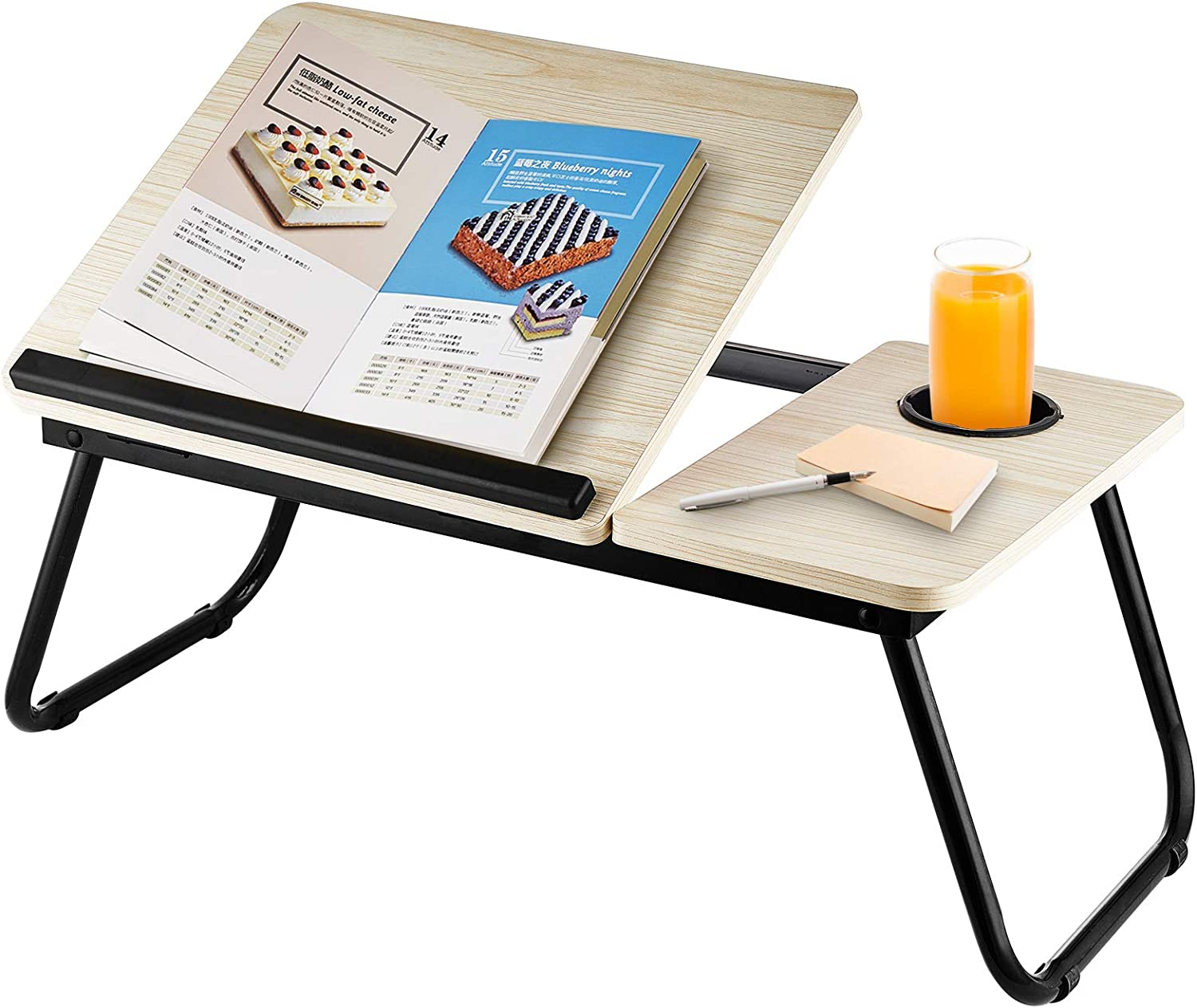 AllesCosy Laptop Stand Lap Desk Bed Tray Table Foldable Lap Desk with Adjustable Top Stand Tablet/Cup Holders Ultra Portable Prefect for PC Working Breakfast Reading Book Watching Movie at Home White