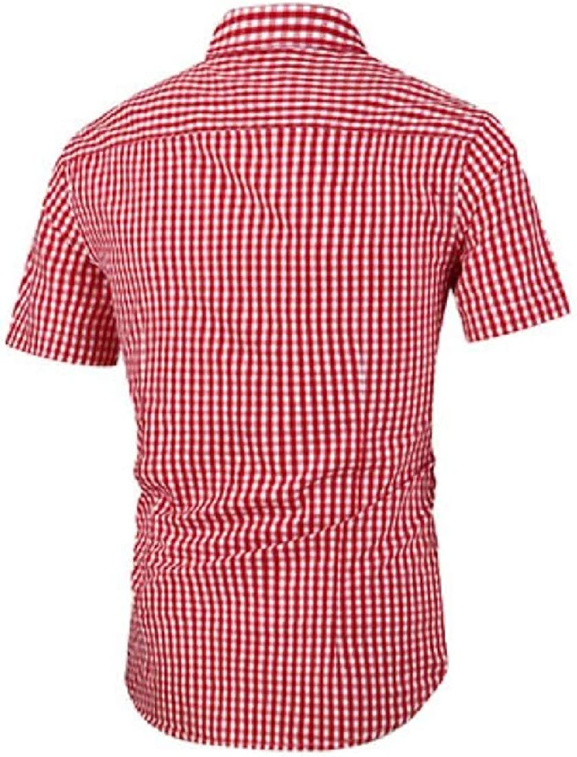 Jofemuho Mens Short Sleeve Cotton Casual Checkered Slim Fit Button Up Dress Work Shirt