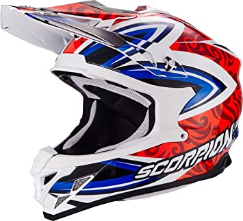 Scorpion Casco Moto VX-15 EVO AIR Revenge, White/Red/Blue,