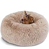 Hianiquaime® Cama para Mascotas Deluxe Plush Redonda de Pelo Nido de Donut con Cojín Perro…