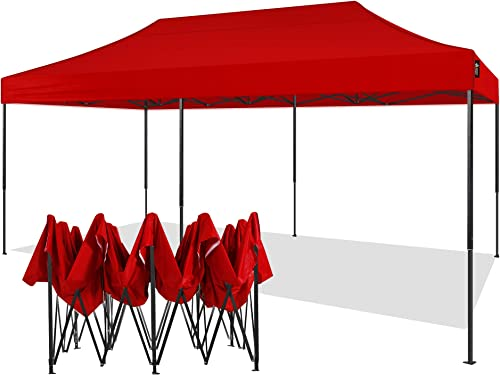 American Phoenix Canopy Tent 10×20 foot Red Party Tent Gazebo Canopy Commercial Fair Shelter Car Shelter Wedding Party Easy Pop Up – Red