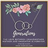 KEDRIAN Generations Necklace, 925 Sterling Silver, Grandmother, Granddaughter, Best Grandma Gifts, Gifts for Grandma Necklace, Grandma Birthday Gifts, for Grandma