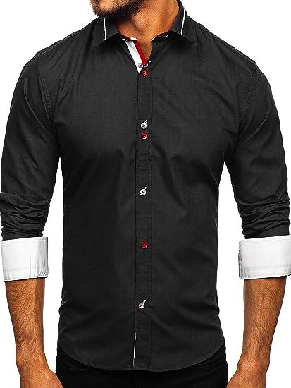 BOLF Hombre Camisa De Manga Larga Cuello Italiano Camisa de ...