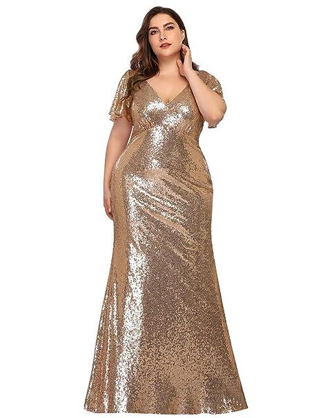 Alisapan Womens Mermaid Sequin Plus Size Long Formal Evening ...