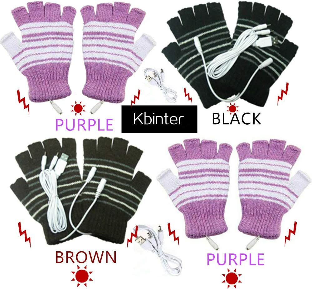 3 Pack Kbinter USB 2.0 Powered Stripes Heating Pattern Knitting Wool Cute Heated Gloves Fingerless Hands Warmer Mittens Laptop Computer Warm Gloves for Women Men Girls Boys