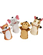 Melissa & Doug Zoo Friends Hand Puppets, Puppet Sets, Elephant, Giraffe, Tiger, and Monkey, Soft Plush Material, Set of 4, 35.56 cm H x 21.59 cm W x 5.08 cm L
