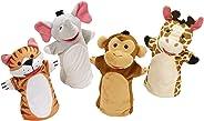 Melissa & Doug Títeres de Mano de los Amigos del Zoo (4 Títeres; Elefante, Jirafa, Tigre, y Mono)