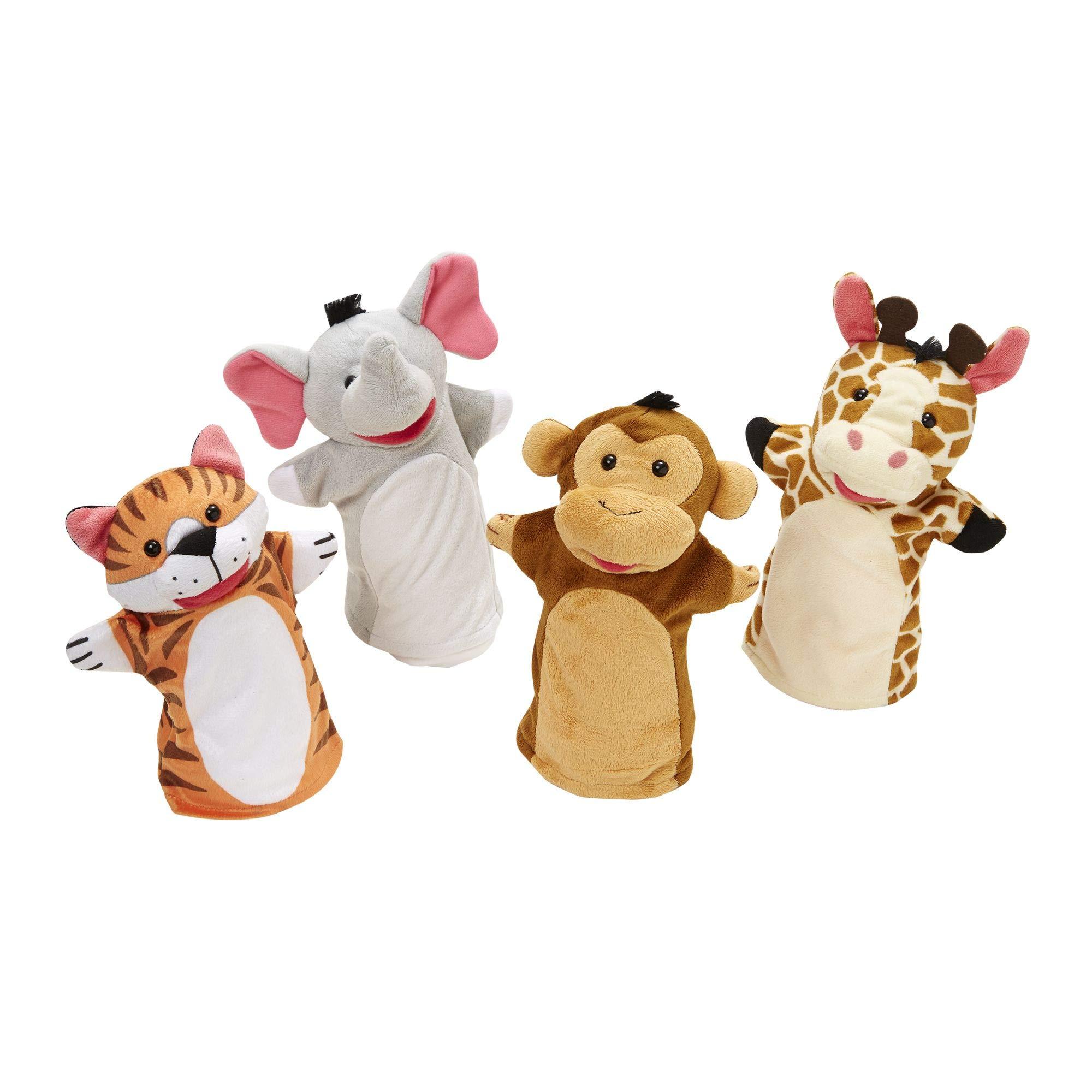 "Melissa & Doug Zoo Friends Hand Puppets, Puppet Sets, Elephant, Giraffe, Tiger, & Monkey, Soft Plush Material, Set of 4, 14"" H X 8.5"" W X 2"" L"