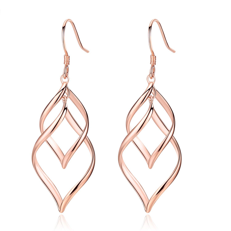 Desimtion 18K Rose Gold Plated Classic Twist Wave Hypoallergenic Earrings,Sterling Silver Post Dangle Earrings for Women