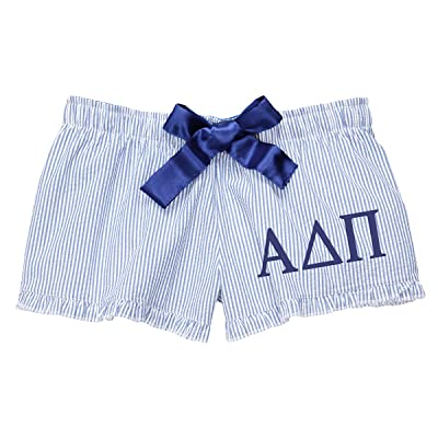 Alpha Delta Pi Seersucker Boxer Shorts at Amazon Women's Clothing store