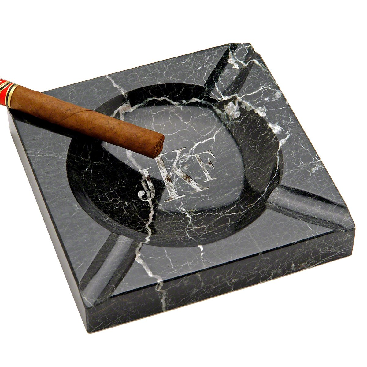 Personalized Custom Black Marble Square Cigar Ashtray by HomeWetBar, Laser Engraved Monogram