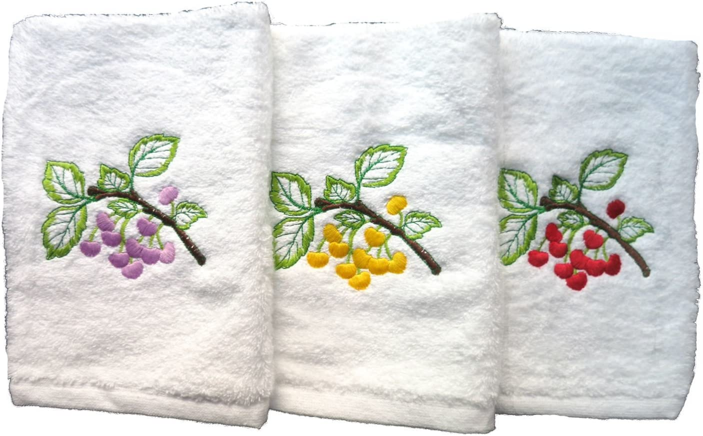 Lote de 3 paños de cocina rizo 100%algodón, Bordados, 50x50cm, fabricados en Portugal. Blanco.: Amazon.es: Hogar