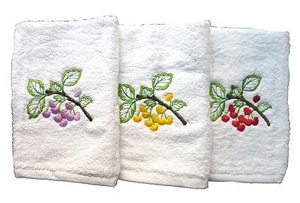 Lote de 3 paños de cocina rizo 100%algodón, Bordados, 50x50cm, fabricados