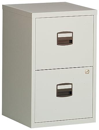 Bisley Steel 2 Drawer Filing Cabinet   Grey