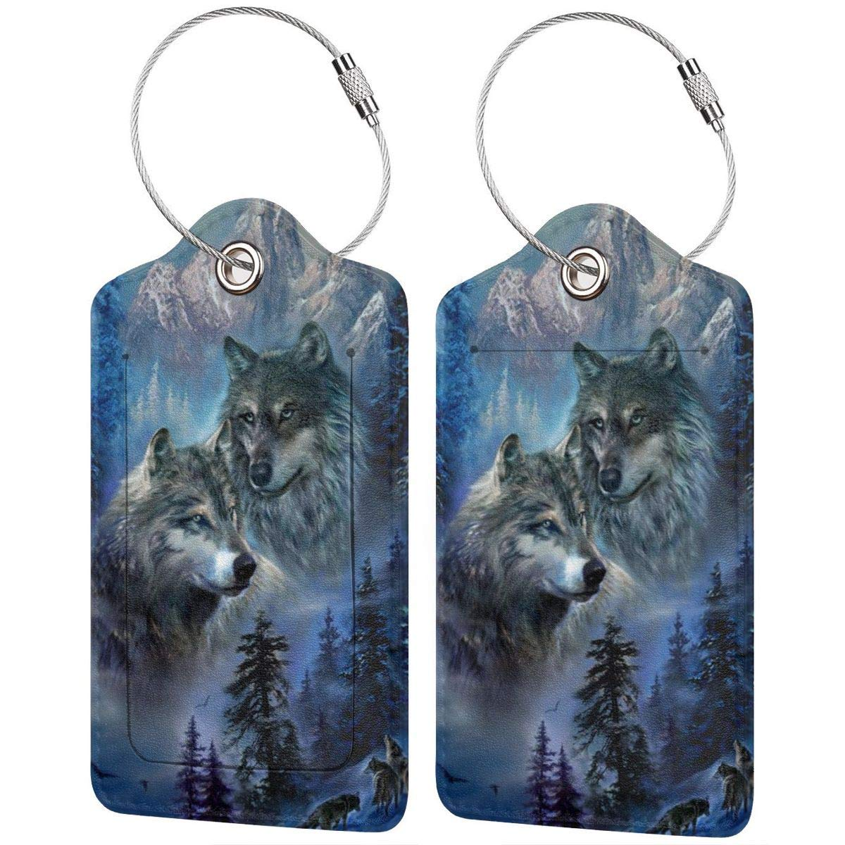 Leather Luggage Tag Howling Wolf Wildlife Animals Luggage Tags For Suitcase Travel Lover Gifts For Men Women 4 PCS