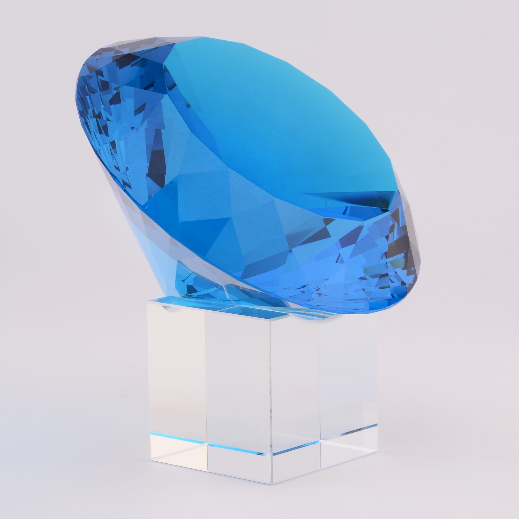 BRLIGHTING Cobalt Blue crystal Diamond Paperweight on stand for Office, Lovely Gift for Friends and Family (D120mm / 4.73'') by BRLIGHTING (Image #2)