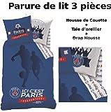 Parure de lit (3pcs) - Housse de Couette + Taie d'Oreiller + Drap housse - Imprimé PSG FOOT