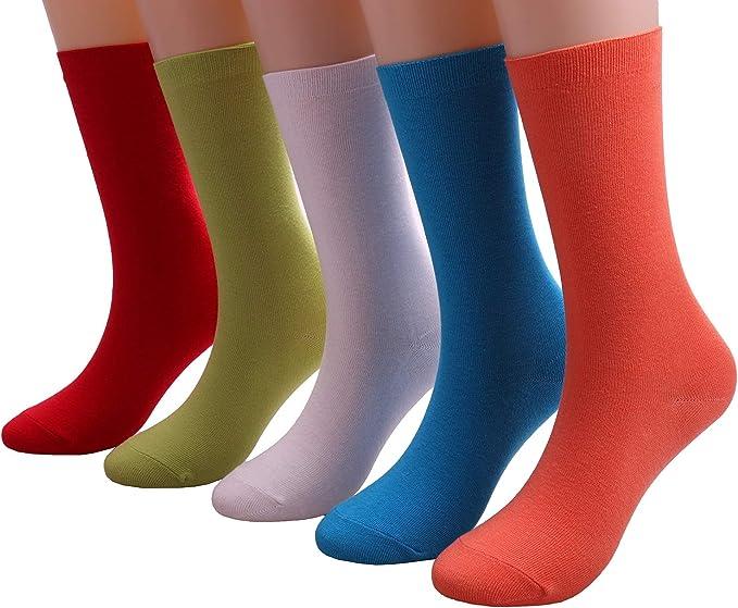 5 Pairs Womens All Season Cotton Crew Socks