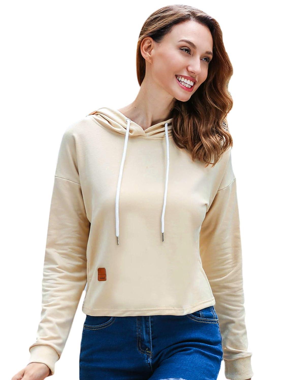 Sexyfree Women Hooded Raglan Sleeve Solid Loose Sweatshirt Hoodie