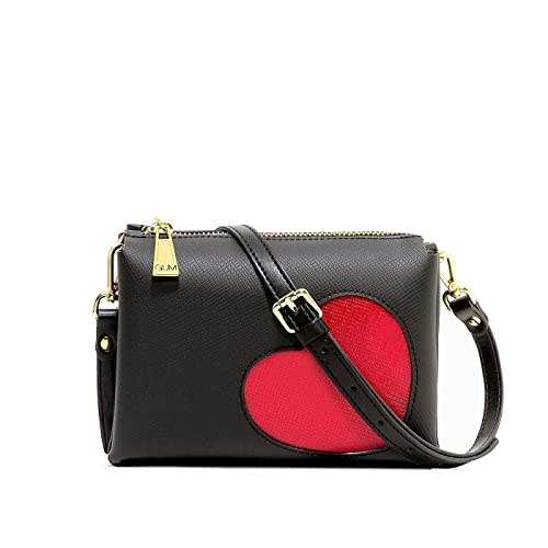 f8c823673f GUM Gianni Chiarini Borsa a tracolla Glossy Heart (Nero): Amazon.it ...