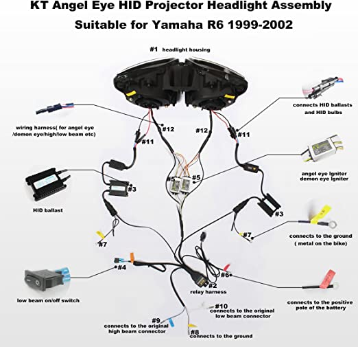 [DIAGRAM_5NL]  Amazon.com: KT Headlight Assembly for Yamaha R6 1999-2002 White Angel Eye:  Automotive | Light Switch Wiring Diagram 2000 R6 |  | Amazon.com