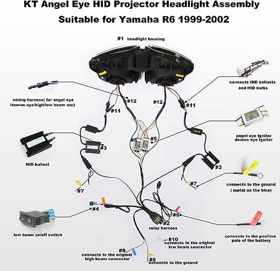 Amazon Com Kt Headlight Assembly For Yamaha R6 1999 2002 White Angel Eye Automotive