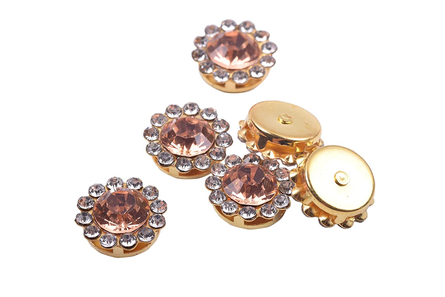 Bags Shoes KAOYOO 100Pcs Sun Flower Shape Crystal Rhinestone Buttons Golden Plated Brass Base Sew on Buttons Ideal for Clothing Wedding Party Decorations Champagne Headpieces,Wedding Dress