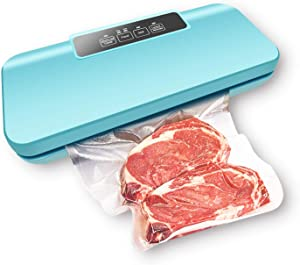Vacuum Sealer Machine, OakNova New Upgraded Automatic Food Sealer for Food Per with sealing bags/Starter Kit|Led Indicator Lights|Easy to Clean|Dry & Moist Food Modes| Compact Design (Blue) 85 Kpa Food Vacuum Air Sealing System for Food Preservation Storage Saver