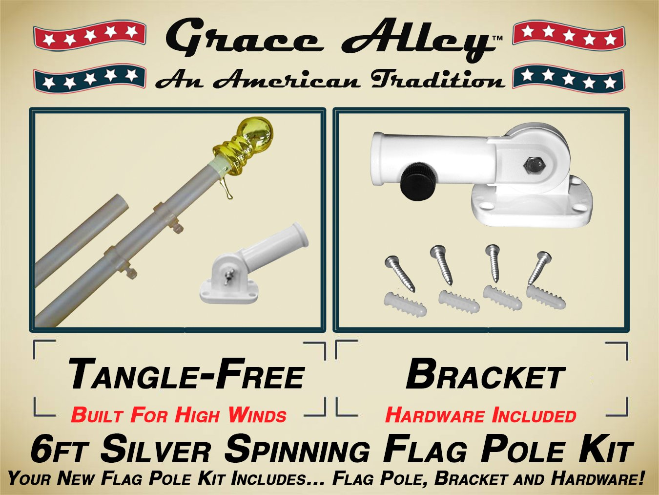 Grace Alley Flag Pole Kit: Outdoor Flag Pole Kit includes Tangle Free Flag Pole & Flag Pole bracket. Great for Residential or Commercial. Silver Aluminum Flag Pole Kit by Wind Resistant/Rust Free.