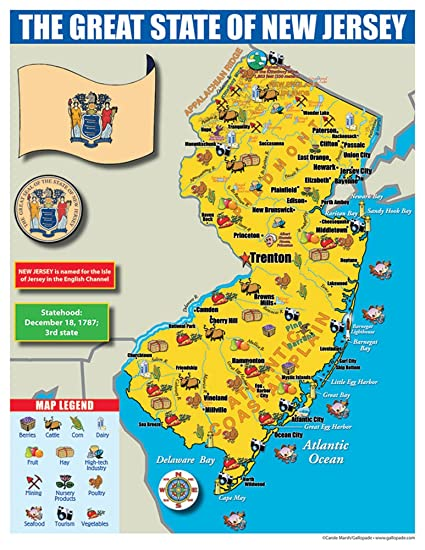 Amazon.com : Gallopade Publishing Group New Jersey State Map for ...