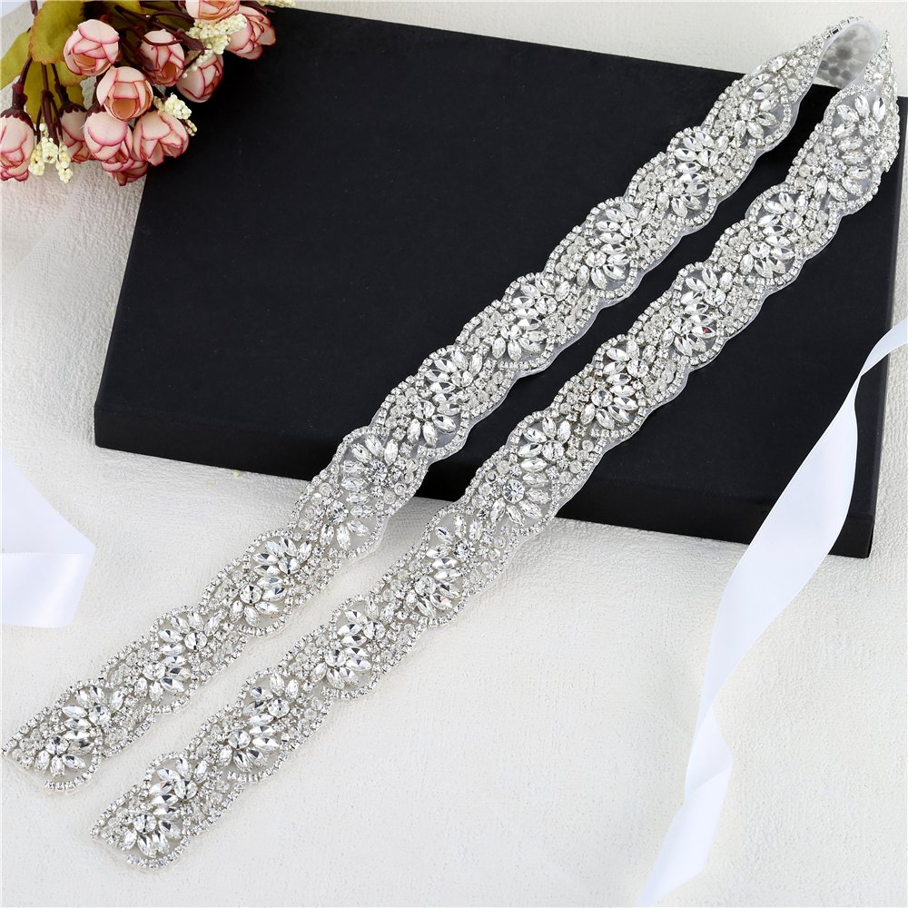 Iron on Wedding Applique for Wedding Party Evening Dress Bridesmaid Gown DIY FANGZHIDI Silver Rhinestone Wedding Sash Decorate with Diamante Sparkly Crystals Bridal Appliques Belts