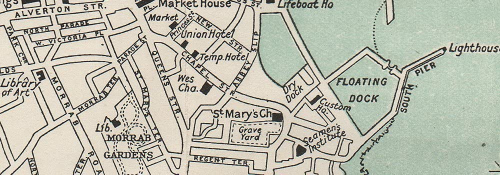 PENZANCE vintage town//city plan WARD LOCK 1912 old antique map Cornwall