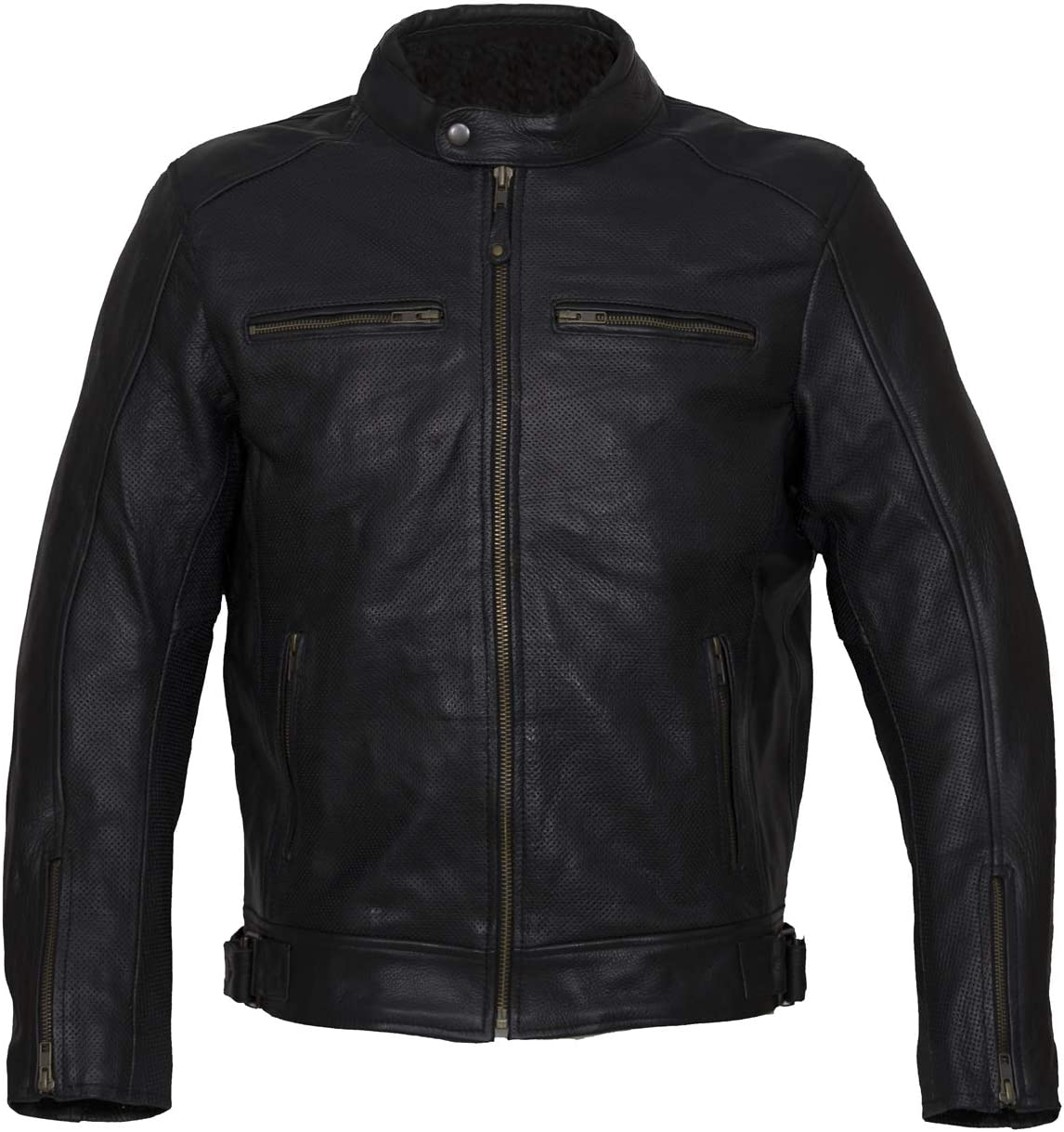 Chaqueta para moto de cuero perforado, HOLLISTER RACE de Iguana Custom Collection. (2XL)