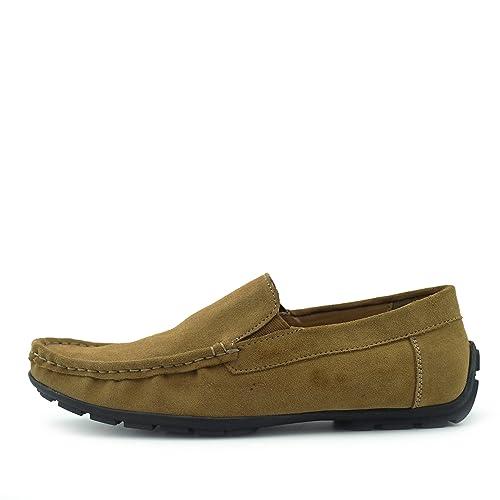 Mocasines de Cuero de Gamuza Zapatos Casual Zapatos de Conducción para los Hombres: Amazon.es: Zapatos y complementos