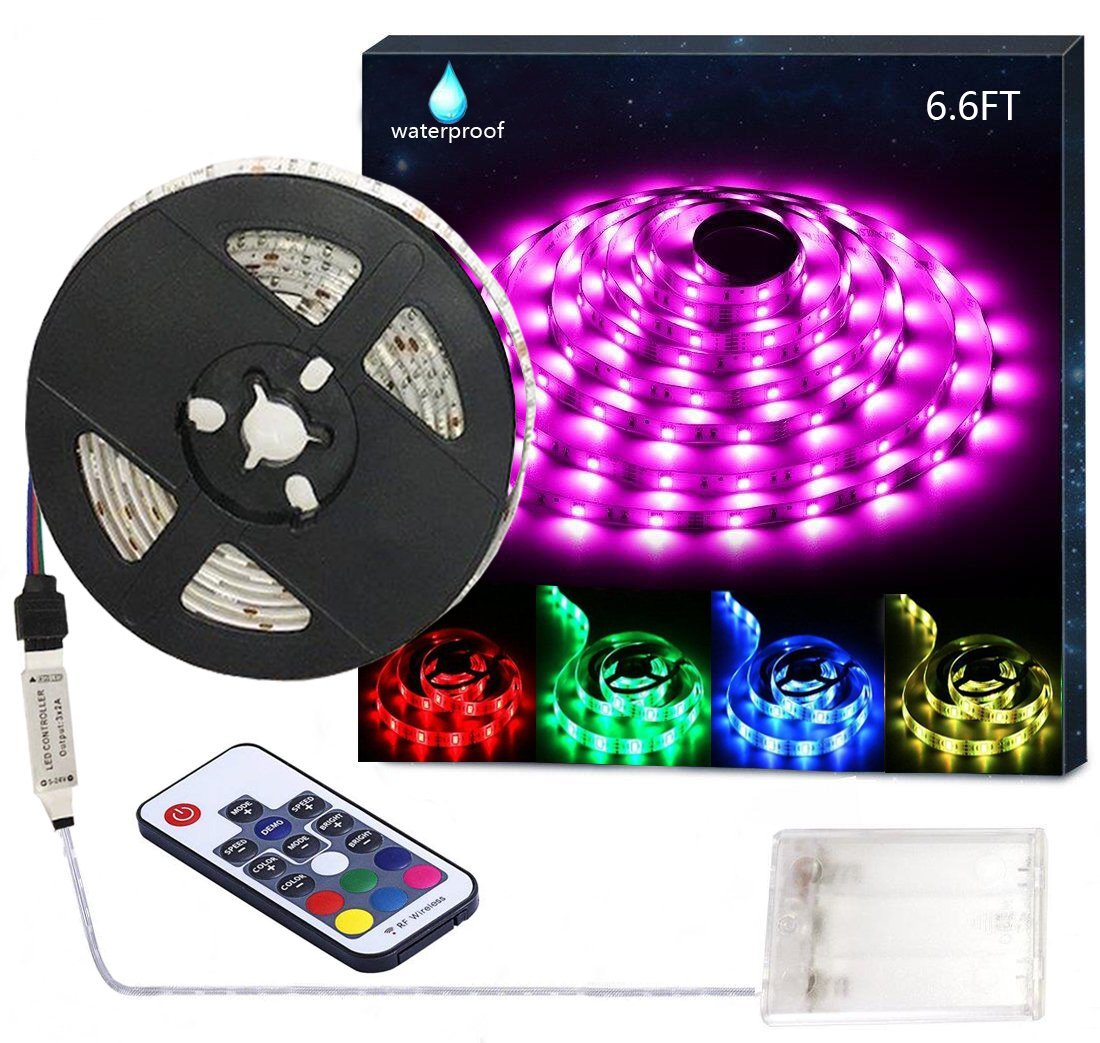 PINSAM Battery Powered Led Strip Lights, Waterproof Flexible Color Changing RGB LED Light Strip,5050 2M/6.6FT 60 LEDs 5V Battery-powered with RF Controller by PINSAM
