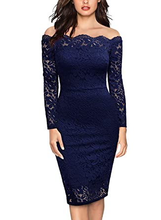 ae89e2786ea8 Miusol Women's Vintage Off Shoulder Flare Lace Slim Cocktail Pencil Dress  at Amazon Women's Clothing store: