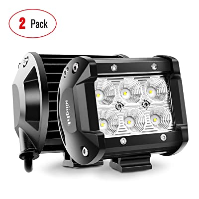 "Nilight 60001F-B Bar 2PCS 18w 4"" Flood Fog Road Boat Driving Led Work Light SUV Jeep Lamp"