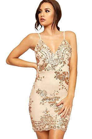 WEARALL Womens Strappy Sequin Sheer Mesh Lined Zip Party Bodycon Mini Dress - Gold - US