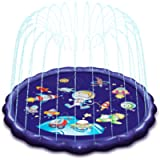 TrekPow Splash Pad, 68'' Sprinkle Play Mat for Kids and Adults in Hot Summer Outdoor Garden Sprinkler Water Spray Pad…