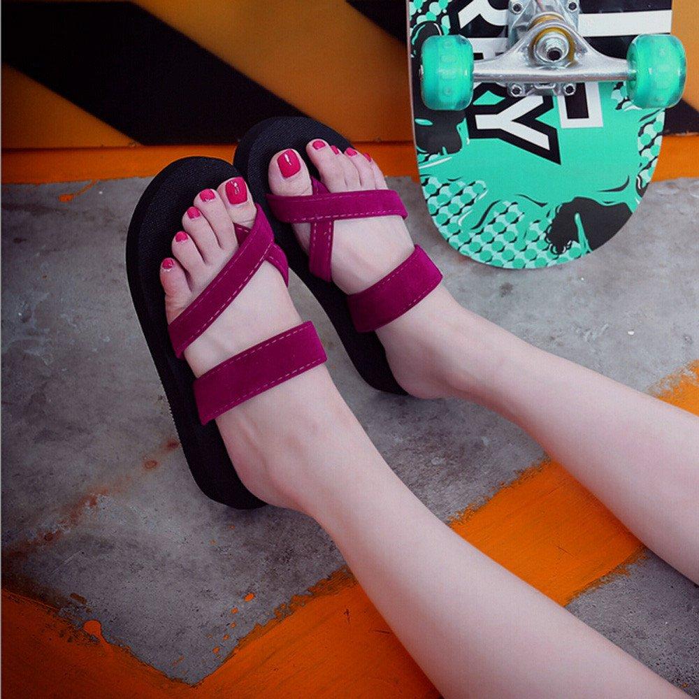 Corriee Womens Summer Clip Toe Slippers Flip Flops Beach Flat Sandals Wine by Corriee (Image #3)