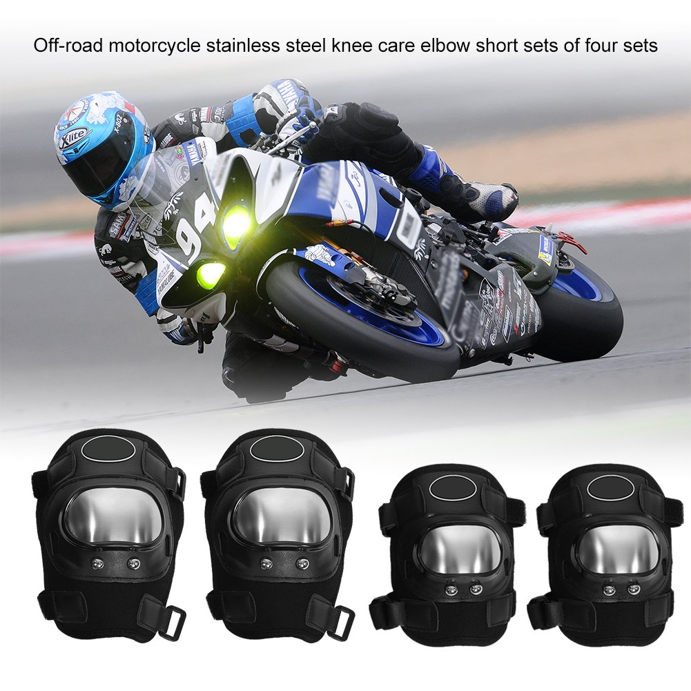 4PCS Knee Shin Protector, EBTOOLS Motorcycle Elbow and Knee Pads Protection Guard, Knee Protector Guard for Motocross Cycling, Mountain Biking, Skateboard, Scooter