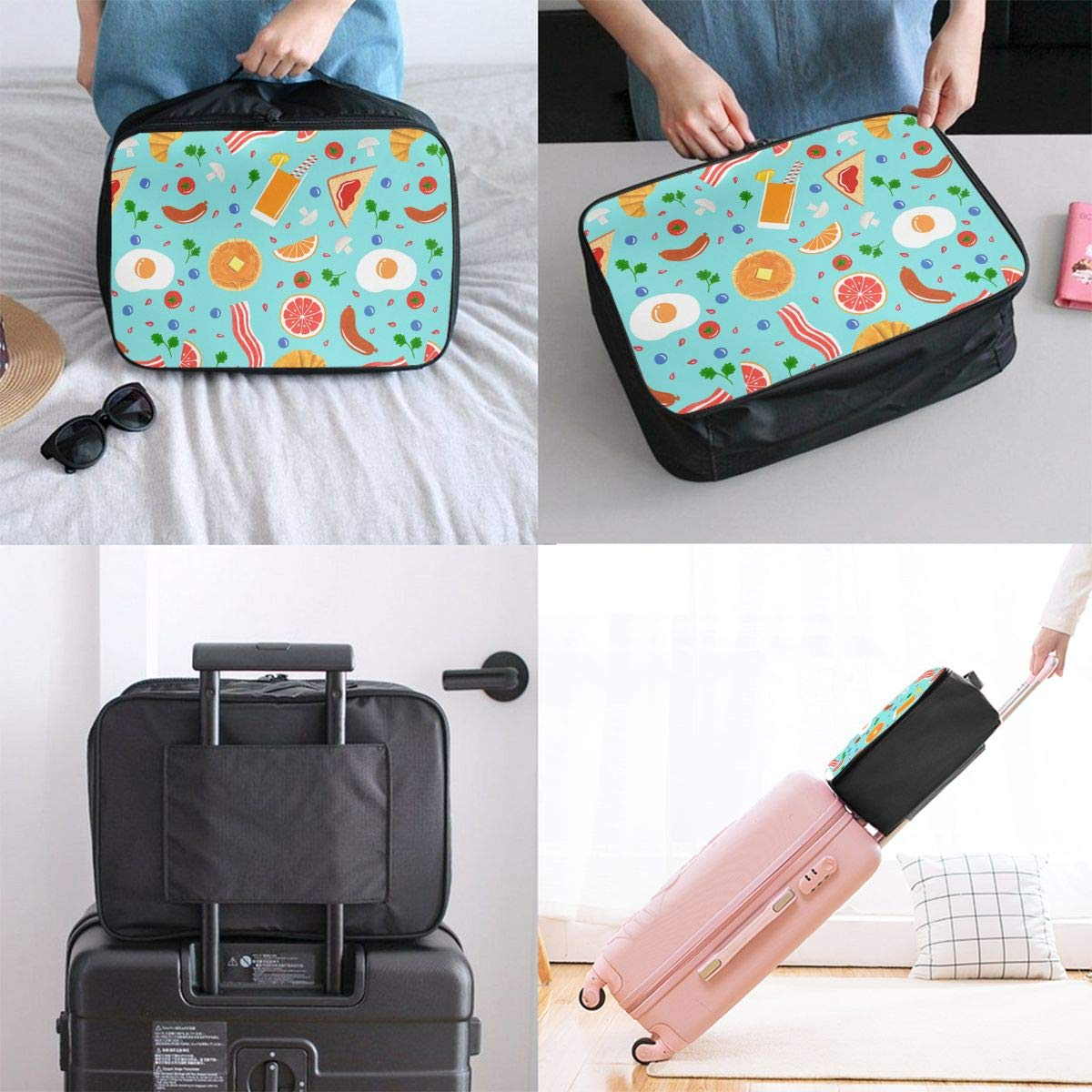 YueLJB Breakfast Cake Sausage Bacon Lightweight Large Capacity Portable Luggage Bag Travel Duffel Bag Storage Carry Luggage Duffle Tote Bag