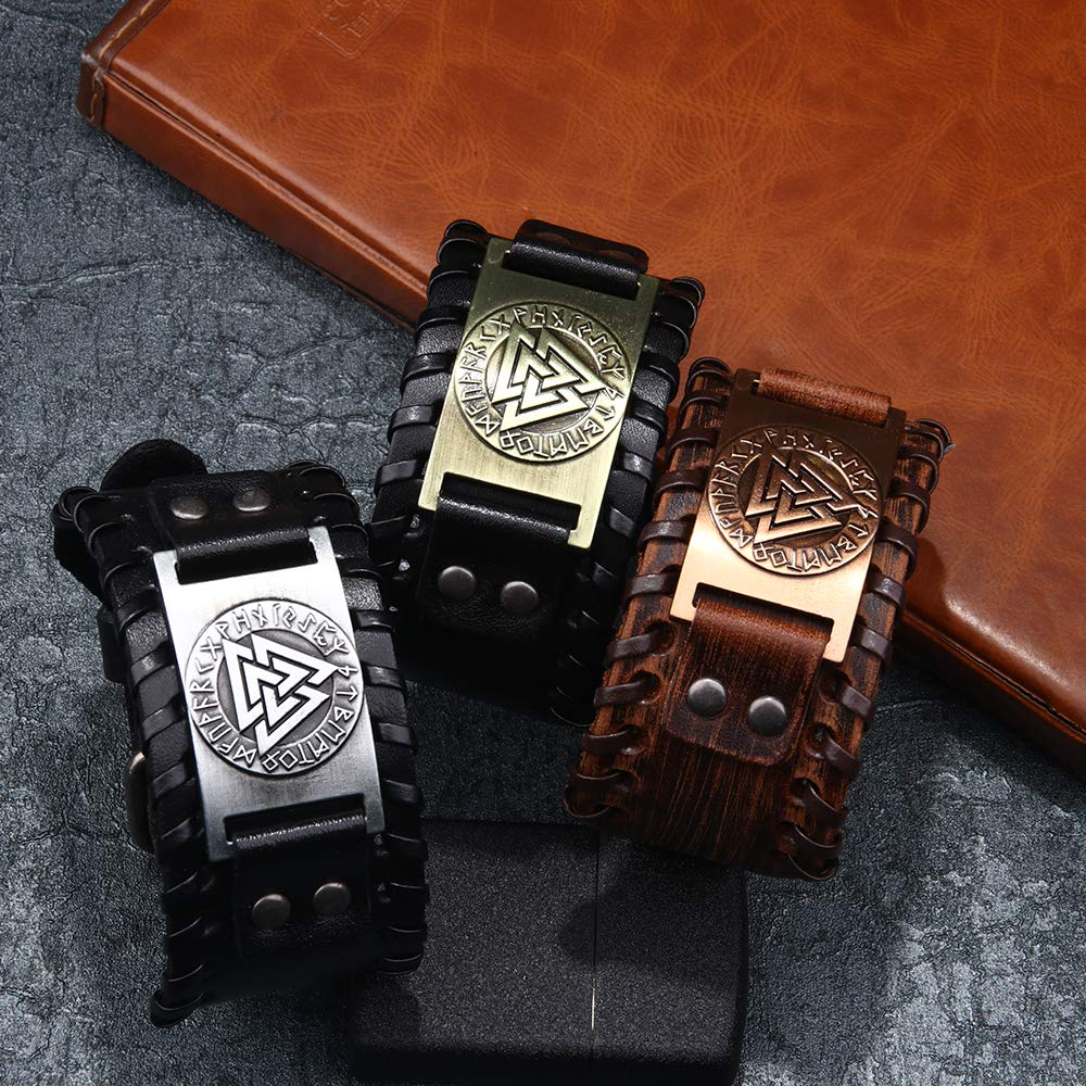 Bracelet en Cuir v/éritable Bracelet Manchette en Cuir pour Homme Bracelet Viking Totem Odin Motif Bracelets Poignet en Cuir r/églable
