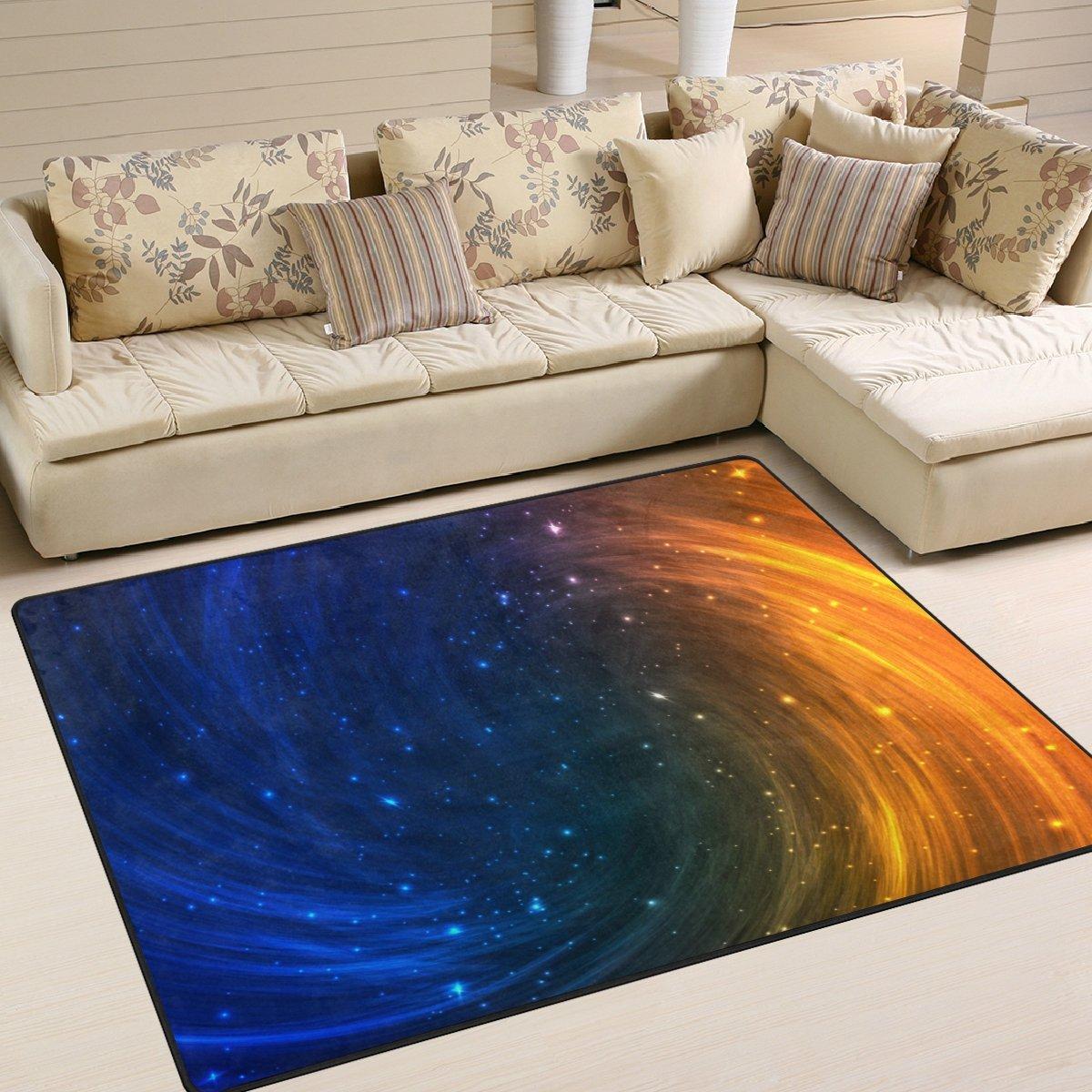 Aideess Triangulum Galaxy Outer Space Area Rugs for Living Room Bedroom 7'x5', Kids Children Carpet Rug Non-Slip Floor Mat Resting Area Doormats