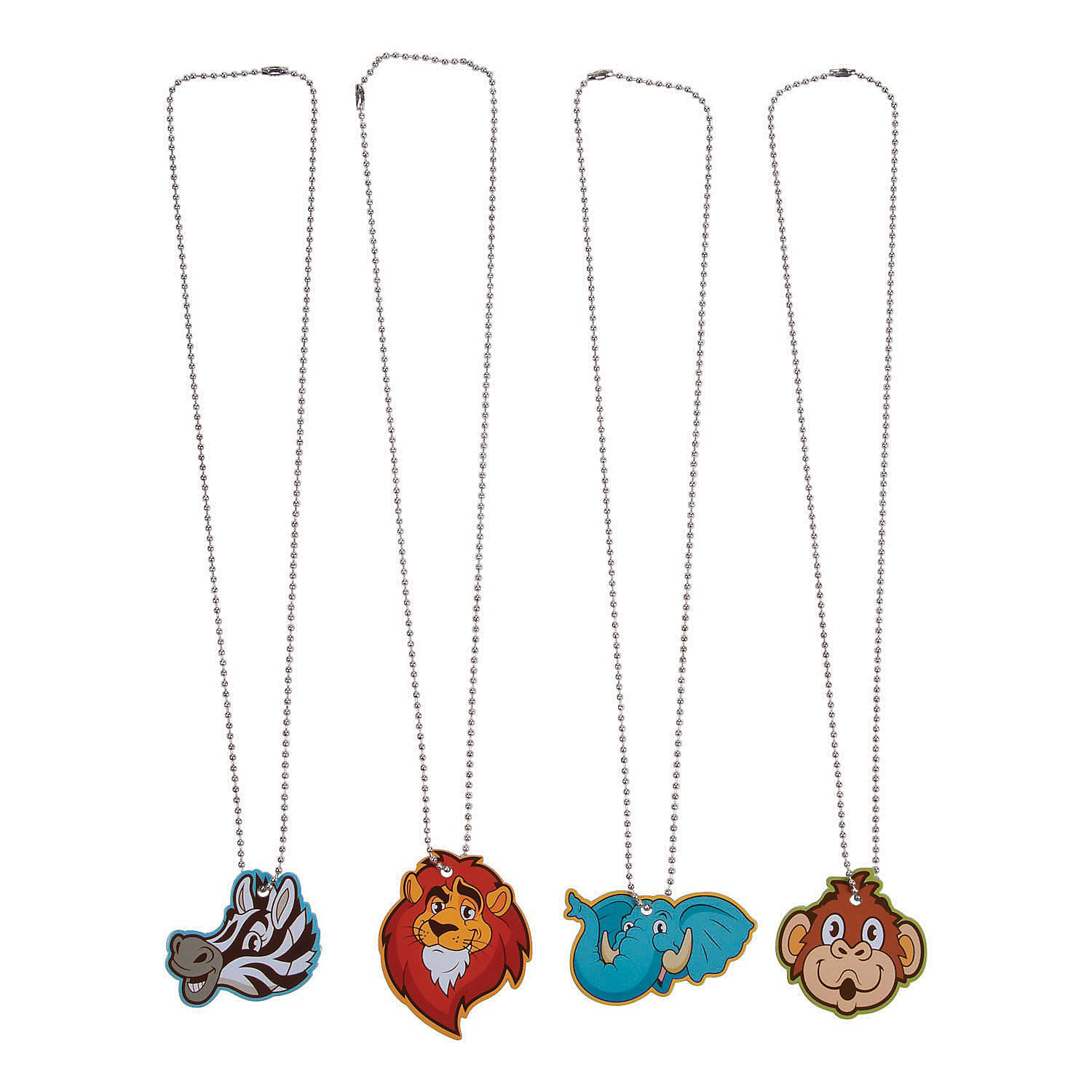 Fun Express Shaped Zoo Animals Dog Tag Necklace - 12 Pieces