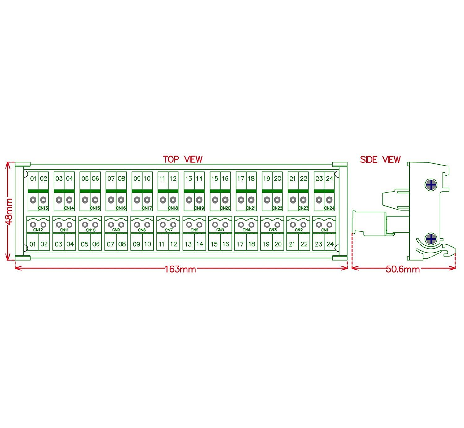 c/ôt/é Fil SE connecte Electronics-salon DIN rail mount Pluggable 12/ x 2/ position 15/ A//300/ V Vis bornier de distribution module.